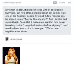 I LOVE this. You don't need to hear their voice to know you love them. <3 I WANT THIS TO HAPPEN>IT NEEDS TO
