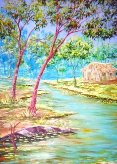 Igarapé  (2003). Óleo sobre tela de Jeriel.  Dimensões: 70 x 50cm.