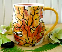 """""""Be The Change You Wish To See In The World"""" Gandhi  HandMade & Painted Falling Autumn Leaves Wheel Thrown Mug"""