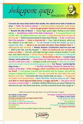 SHAKESPEARE QUOTES POSTER - TRAGEDIES