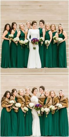 Emerald green bridesmaids dresses with fur stoles | Catherine Rhodes Photography