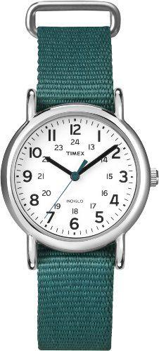 Timex Women`s T2N915 Weekender Mid-Size Slip-Thru Green Nylon Strap Watch $33.92