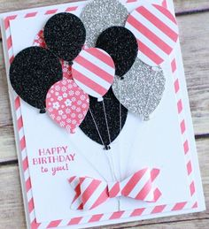 Punch art happy birthday card featuring Stampin UP! new Party Pants stamp set and balloon bouquet punch. Wendy Cranford www.luvinstampin.com: