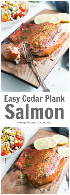 Easy Cedar Plank Salmon - Enjoy this wild and fresh salmon filet that's been rubbed with Cajun seasoning and grilled slowly over soaked cedar plank to bring a delicious smokey flavour to your fish.