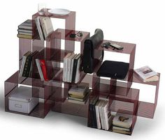 Contemporary metal low shelf by Philippe Nigro CROSS UNIT Sintesi