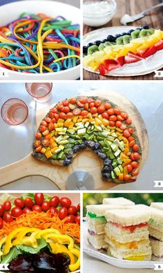 My little pony party food:salad pizza sandwiches