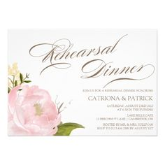 Romantic Peony Flower Rehearsal Dinner Invitation