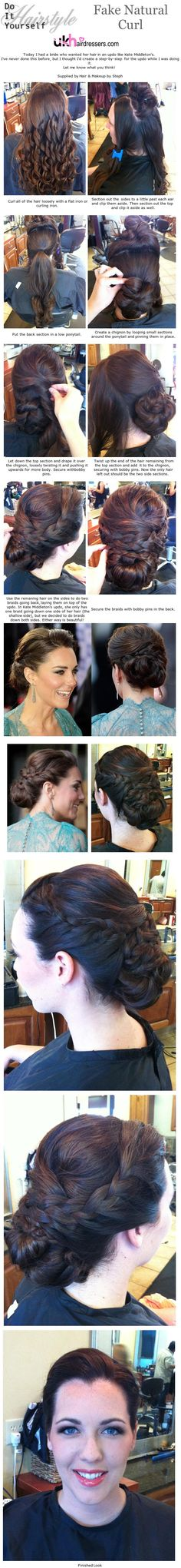 DIY HAIRStyles - Kate Middleton Updo     ANOTHER FABULOUS DIY HAIRSTYLE BY STEPHANIE BRINKERHOFF      WWW.UKHAIRDRESSERS.COM