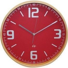 Wall Clock Wood with Red Face