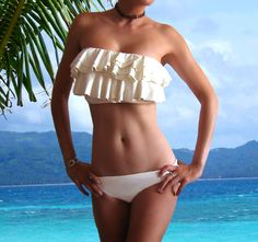 Image detail for -Michael Kors Ruffled Bust Enhancing Bandeau Swimwear Swimsuit Bathing ...don't like the necklace, cute swimsuit!!