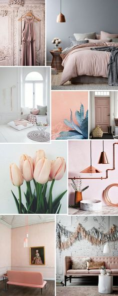 The French Bedroom / Blush pink / Pantones Colour of the year 2016 Amethyst / Velvet pink sofas with gold and copper. Bedroom Green, Bedroom Colors, Blue And Pink Bedroom, Pink Grey, Blush Grey Copper Bedroom, Dusty Pink Bedroom, Pink Master Bedroom, Green Bedrooms, Rose Bedroom