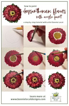 Learn to paint chrysanthemum flowers step by step with artist Bonnie Lecat. via @bmurphylecat