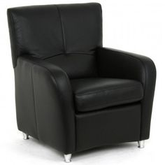 Holte Leather Club Chair - Black Leather Club Chairs, Sofas, Armchair, Living Room, House, Furniture, Black, Home Decor, Couches