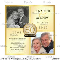 Custom Golden Wedding Anniversary Photo Invitations created by th_party_invitations. This invitation design is available on many paper types and is completely custom printed. 50th Wedding Anniversary Invitations, Wedding Anniversary Photos, Photo Wedding Invitations, Golden Anniversary, Anniversary Surprise, Anniversary Ideas, 50th Anniversary Parties, Anniversary Cards, Surprise Party Invitations
