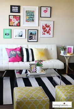 Modern Office Space with black and white stripes, hot pink and bright yellow. Happy and bright room decorating ideas and inspiration! Printable wall decor.