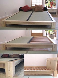 Tatami Platform Bed Frame in Natural Finish Low Platform Bed Frame, Platform Beds, Cama Tatami, Tatami Room, Japanese Platform Bed, Ceiling Bed, Bed Frames For Sale, Murphy-bett Ikea, Solid Wood Bed Frame