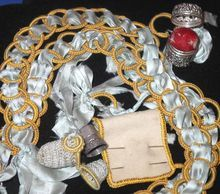 Victorian Sewing Chatelaine Belt with Silver Thimble & Pin Holder
