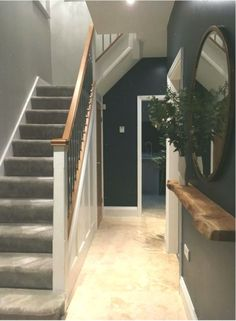 Hallway flooring Farmhouse Hallway Design Ideas - Easy means to add some charm and also character to create a stunning farmhouse style hallway room. Stairs And Hallway Ideas, Hallway Ideas Entrance Narrow, Modern Hallway, Modern Staircase, Modern Bathroom, Entryway, Entrance Hall Decor, House Entrance, Entrance Halls