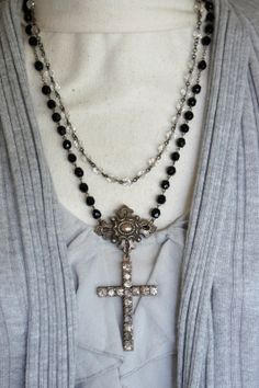 Provence LoveVintage assemblage necklace by frenchfeatherdesigns, $140.00 / vintage rhinestones