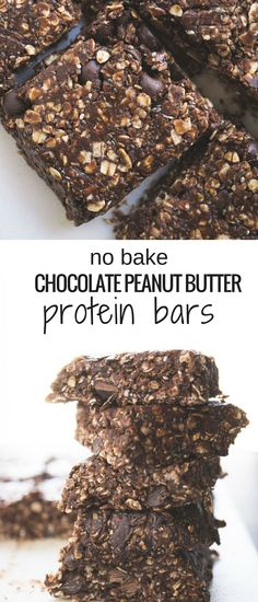 you've got 10 minutes you've got enough time to make these No Bake Chocolate Peanut Butter Protein Bars!If you've got 10 minutes you've got enough time to make these No Bake Chocolate Peanut Butter Protein Bars! Diy Protein Bars, Peanut Butter Protein Bars, Healthy Protein Snacks, Protein Bar Recipes, Protein Energy, Healthy Bars, Protein Powder Recipes, Protein Bites, Protein Ball