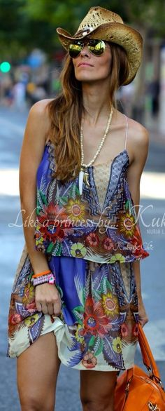 Floral Print Little Dress, boho chic hippie look. For the BEST New Bohemian Street Style Fashion Trends FOLLOW https://www.pinterest.com/happygolicky/the-best-boho-chic-fashion-bohemian-jewelry-gypsy-/ now!