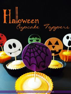Halloween Cupcake Toppers at The Purple Pumpkin Blog