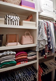 My Closet Tour and Tips for Keeping an Organized and Beautiful Wardrobe | Best Closet Organization, Closet Storage, Jean Organization, Wardrobe Organisation, Bathroom Organization, How To Store Scarves, Small Closets, Linen Closets, Shop Shelving