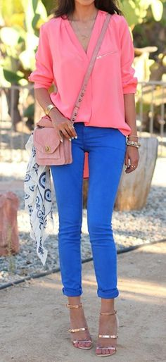 coral & blue rolled up jeans with metallic heels