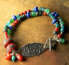 Multistone Colorful Bracelet Sterling Silver Coral by ChrysalisToo, $74.00