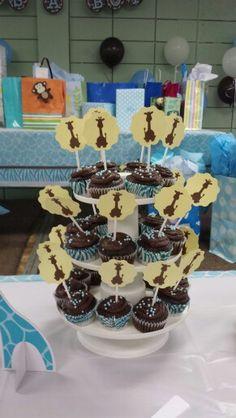 Giraffe baby shower -cupcake toppers