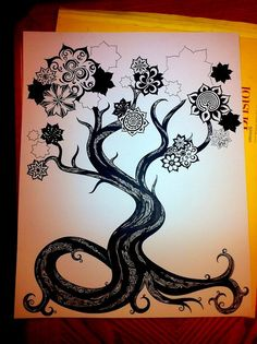 Fantasy Surreal Tree Drawing Whimsical Trippy Mandala Tree EXTRA Large Scale Custom Ink Drawing Black & White Commissioned Intricate Artwork