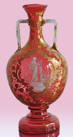 Gorgeous hand painted Bohemian Mary Gregory glass Urn with gold.