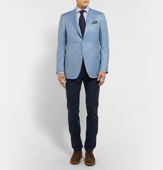 CanaliBlue Wool, Linen and Silk-Blend Blazer #Blazer #Azul #Cielo