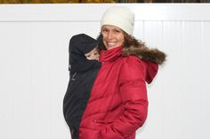 The Extendher is a clip on maternity panel that when inverted can also be used as a cover for your baby when in a baby carrier. Keep you and baby warm and eliminate the need for a snowsuit or heavy jacket. Easy Hood sold separately. It can be worn with all your coats of various lengths and zipper types. This is a patent pending clip-on system.