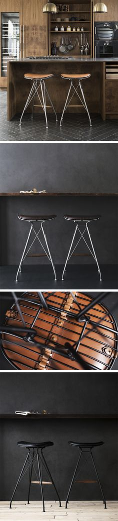 Wire Bar Stools from @overgaarddyrman , in satin chrome steel with yellowstone dark brown leather and smoked oak footrest. Made in Denmark