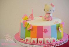 Pastel de cumpleaños de Hello Kitty.. #DulceLaura #Cakelife #fondantcake #hellokitty