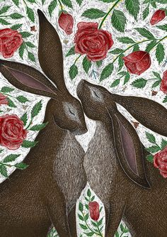 Hares & Red Roses A5 Print