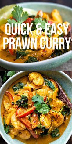 Cooked Prawn Recipes, Easy Prawn Recipes, Shellfish Recipes, Curry Recipes, Seafood Recipes, Mexican Food Recipes, Recipes With Prawns, Dinner Recipes, Cooking Recipes