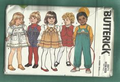 Vintage 1980s Butterick 6971 Jumper Overall and Vest for Toddlers Sizes 1 to 4  UNCUT