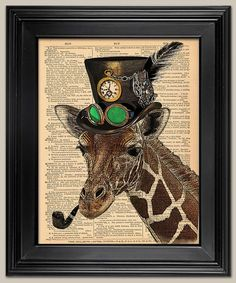 """Steampunk Giraffe. Upcycled vintage book page art print. Animal Print on book page. Fits 8""""x10"""" frame. on Etsy, $8.99 #ad"""