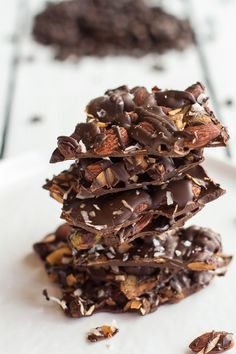{Coffee roasted almond and toasted coconut dark chocolate bark.}