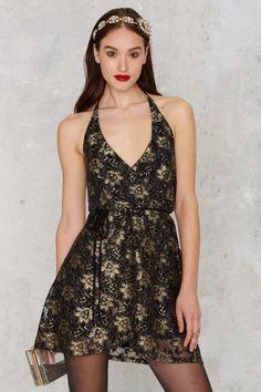 After Party Vintage Pon de Floral Dress