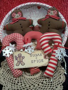 Primitive Whimsical Country Christmas GINGERBREAD CANDY CANES Dolls Tucks Bowl Fillers Ornies