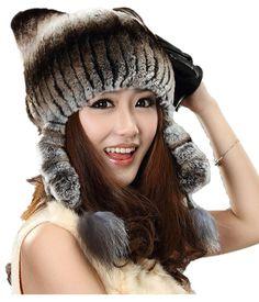 H927-autumn and winter cat  hat  with  earflap flower women's russian  fashion stripe natural rex rabbit fur cap