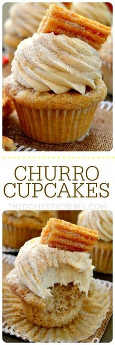 These Churro Cupcakes are bursting with cinnamon sugary goodness in every bite! Perfect for Cinco de Mayo or any occasion that calls for a moist sweet and fluffy cinnamon-spiced cupcake topped with a crispy churro!