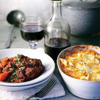 Braised Ox Cheeks with Parsnip Gratin