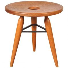 French Oak Tripod Stool, 1950s for sale at Pamono