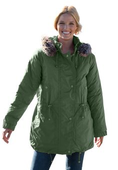 de75dc8003302 Plus Size Taslon® anorak coat with removable quilted lining Plus Size  Outerwear