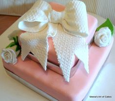 pink bow square cake veenas art of cakes