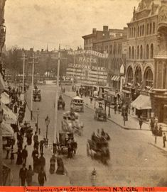 Looking north up Broadway towards st with Union Square seen in distance. A banner hangs across Broadway advertising The American Jockey Club Races at Jerome Park. View hand dated 1878 Old Pictures, Old Photos, Vintage Photos, Vintage Stuff, Vintage New York, Nyc Pics, American Photo, Union Square, Greenwich Village